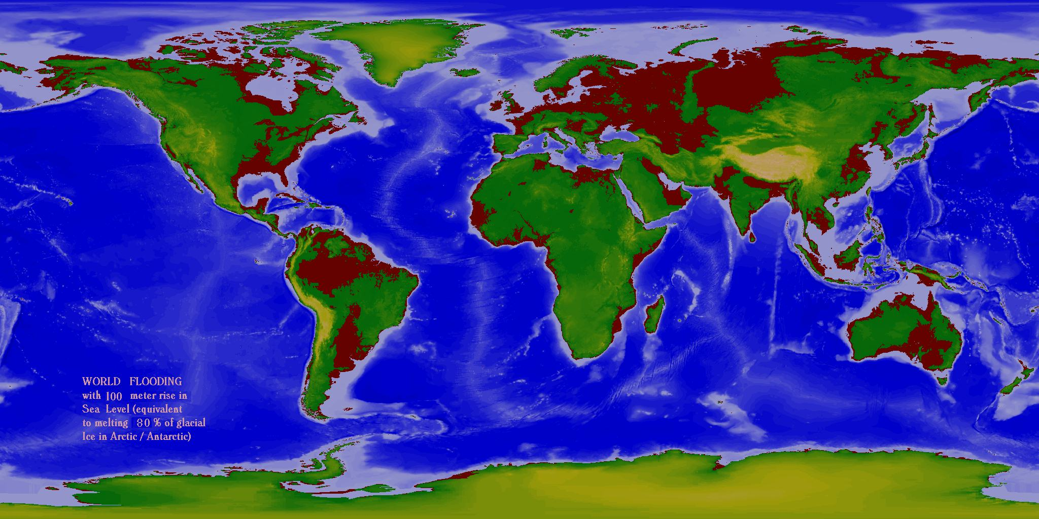 World Flood Maps  60m  100m rise in sea level  Old Project